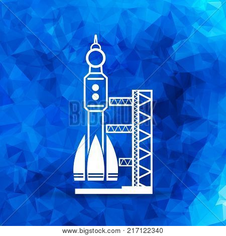 blue triangular launch site with rocket, spaceport icon, vector illustration