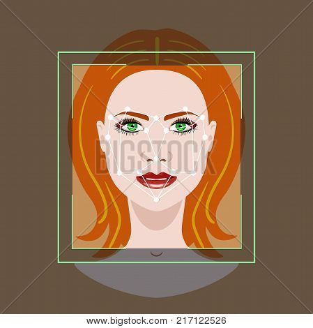 Facial Recognition System concept with a face of woman, vector illustration
