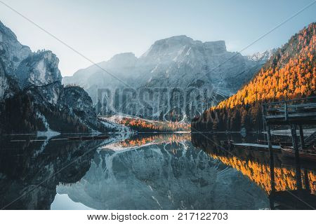 Boats on the Braies Lake ( Pragser Wildsee ) in Dolomites mountains Sudtirol Italy