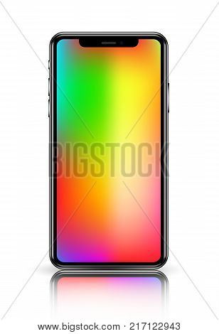 smartphone in black color with blank touch screen isolated on white background. stock vector illustration eps10