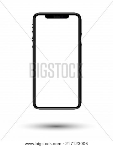 smartphone in black color with blank touch screen isolated on white background. stock vector illustration eps10.
