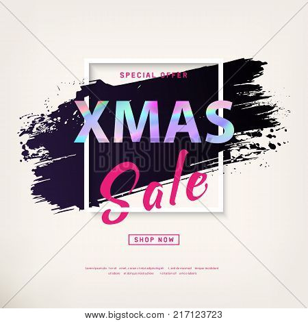2018 Xmas Sale Poster with holographic effect text. Modern concept for cover design. Sale Discount banner. Advertising design for flyer, gift card, brochure, magazine, mockup, booklet, ad. Vector