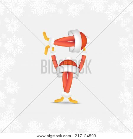 Festive Santa Dancer B-boy Upside Down. Abstract Cartoon Character For Christmas And New Year In A R