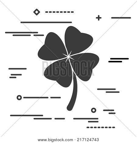 Flat Line art design graphic image concept of Clover with four leaves sign icon on a white background. Saint Patrick symbol