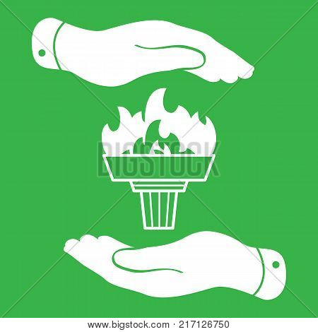 white torch icon with flame and flat hands on a green background
