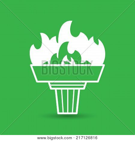 white torch icon with flame on a green background