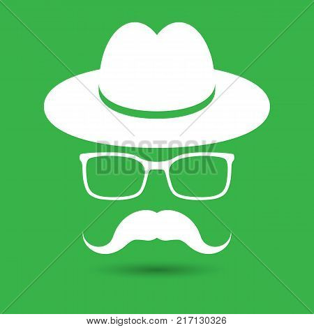 white hat with mustache and glasses isolated on the green background