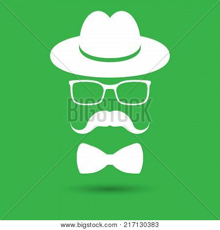 white hat with mustache, bow tie and glasses isolated on the green background