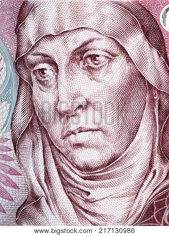 Agnes of Bohemia portrait from Czech money