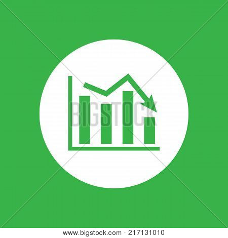 white flat icon of graph going down on a green background