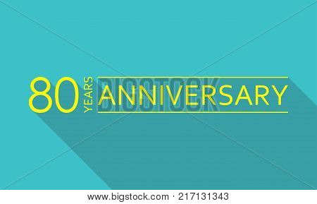 80 years anniversary template. 80 years celebration and congratulation design element. Vector illustration.