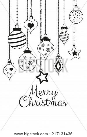 Vector Greetings Cards For Merry Christmas With Balls, Tree, Flower, Garlands, Text For Print And We