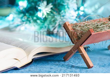 Bible manger and native scene abstract christmas background concept