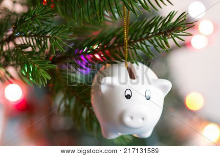 Save money and christmas concept with piggy bank and tree