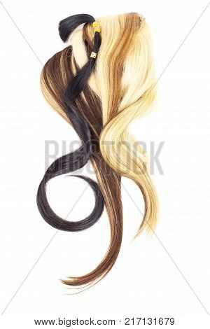 Real woman hair texture. Human hair weft, Dry hair with silky volumes. Real european human hair wallpaper texture. Brown blond dark blonde and black. Tail.