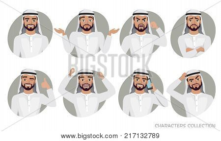 Arab Man character set of emotions and poses. Vector illustration in cartoon style