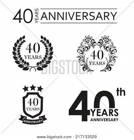 40 years anniversary set. Anniversary icon emblem or label collection. 40 years celebration and congratulation design element. Vector illustration.