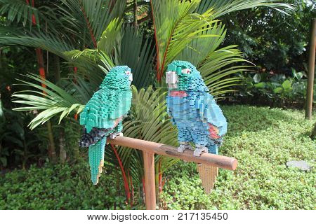 LEGO LAND MALAYSIA JANUARY 2017: Lego bricks made parrot at Lego Land Malaysia