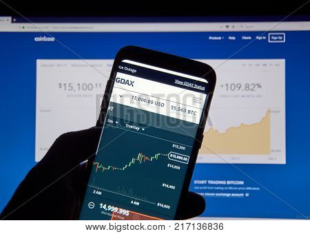 MONTREAL CANADA - DECEMBER 7 2017: Bitcoin USD price on Coinbase android app GDAX. GDAX is a trading platform and a service provided by Coinbase Inc