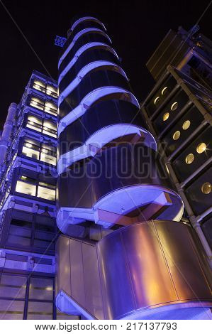 London, UK, January 12, 2012 : The Lloyd's Building at night which is the headquarters of the insurance firm Lloyd's of London in heart of the city's financial district