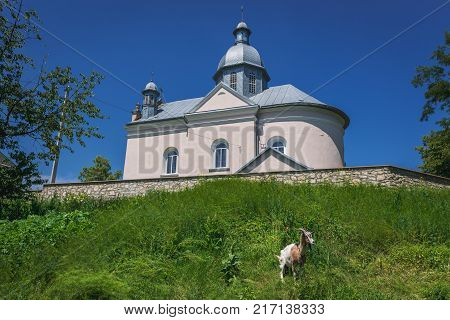 Orthodox Ascension Church in small village Yagelnitsa in Ukraine