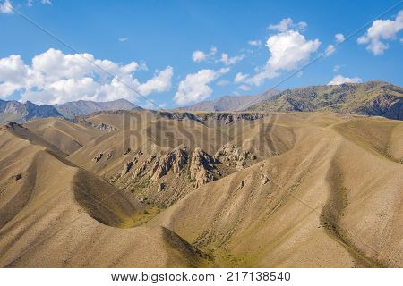 Green yellow valley Torugart pass Kyrgyzstan, Central Asia