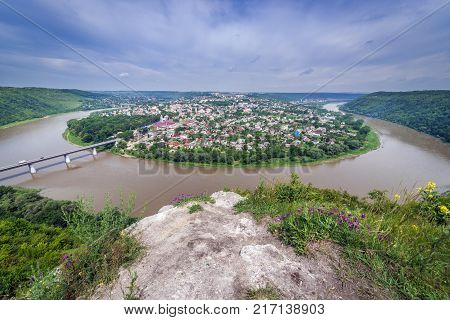 Small city Zalishchyky seen from viewpoint in Khreshchatyk village Ukraine