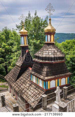 Wooden chapel in St John the Theologian Orthodox male monastery in Khreshchatyk Ukraine