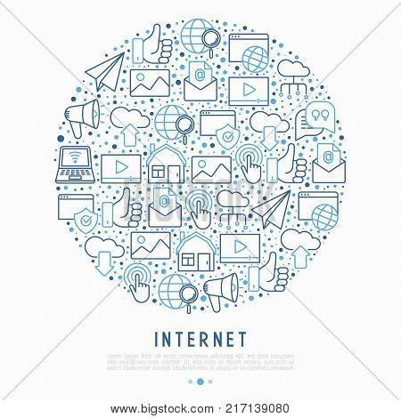 Internet concept in circle with thin line icons: e-mail, chat, laptop, share, cloud computing, seo, download, upload, stream, global connection. Modern vector illustration for web page.