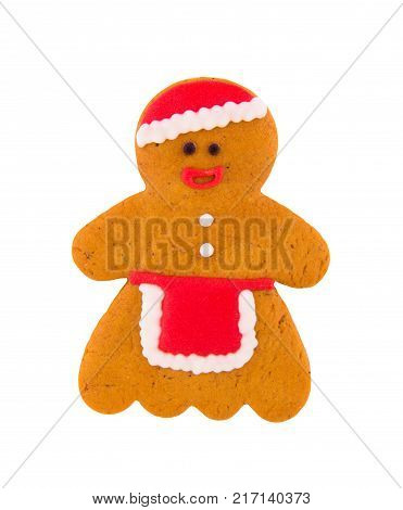 Gingerbread man on a white background. Isolated on white. Homemade Christmas gingerbread. Painting on gingerbread. Gingerbread woman