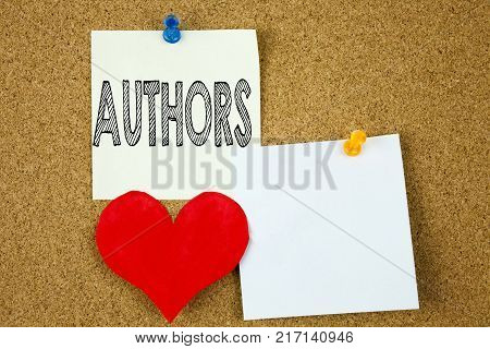 Conceptual hand writing text caption inspiration showing Authors concept for Word Message Text Typography and Love written on sticky note, cork background with copy space