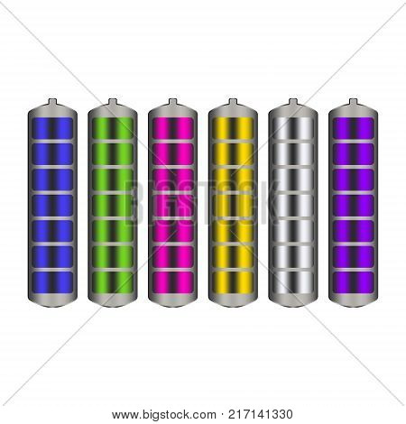 Vector image of rechargeable batteries with charge indicator of different colors