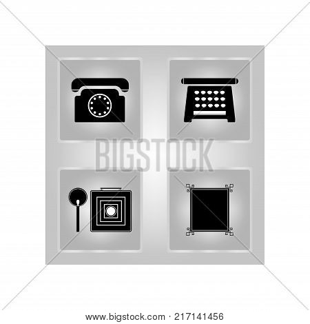 Vector phone icons of dialer, sms, gallery and camera