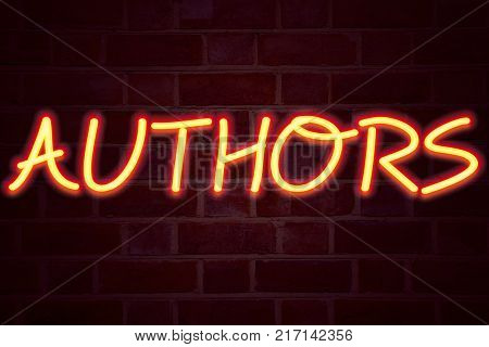 Authors neon sign on brick wall background. Fluorescent Neon tube Sign on brickwork Business concept for Word Message Text Typography 3D rendered Front View