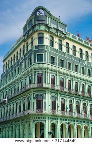View of the restored luxury Saratoga Hotel built in 1879, an excellent example of colonial architecture in the La Habana Vieja neighborhood.
