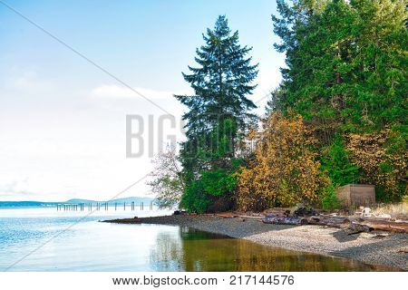 View of secluded beach in Ladysmithh shoreline in Vancouver Island, British Columbia, Canada