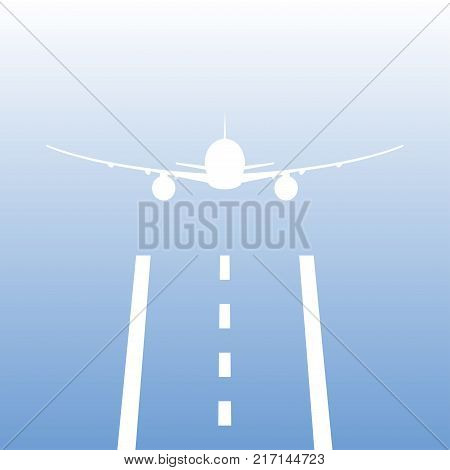 Airplane or aircraft takes off from a runway. Plane is landing away from airport. Vector illustration.
