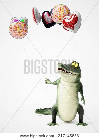 3D rendering of a cute friendly cartoon crocodile holding a bunch of balloons in his hand.