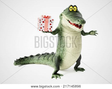 3D rendering of a cute friendly cartoon crocodile holding a present in his hand.