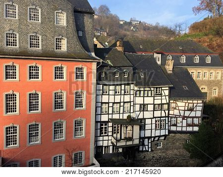 Rooftop perspective on Monschau, Germany. A unique perspective of this charming medieval town's architecture taken from a rooftop