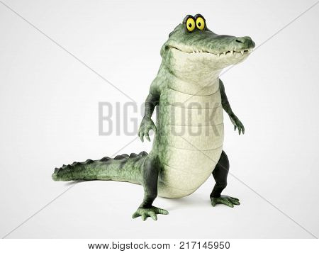 3D rendering of a cute friendly cartoon crocodile standing up and smiling.