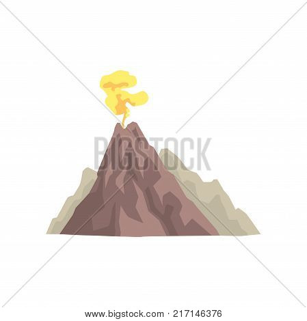 Volcano mountain eruption with dust cloud vector Illustration isolated on a white background