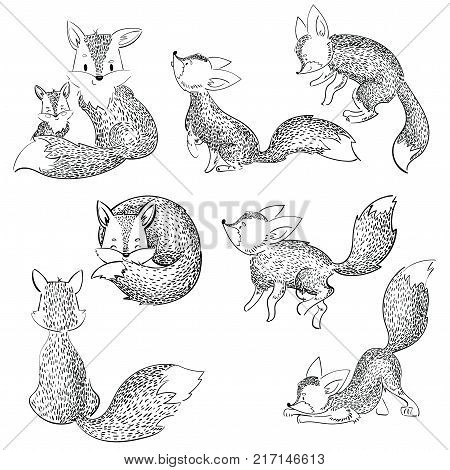 Set of cartoon foxes. Collection of cute foxes. Vector illustration for children. Black and white.