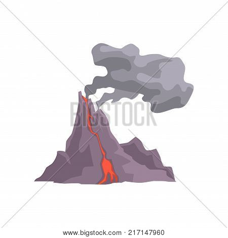 Volcano eruption with hot lava, magma and dust cloud vector Illustration isolated on a white background