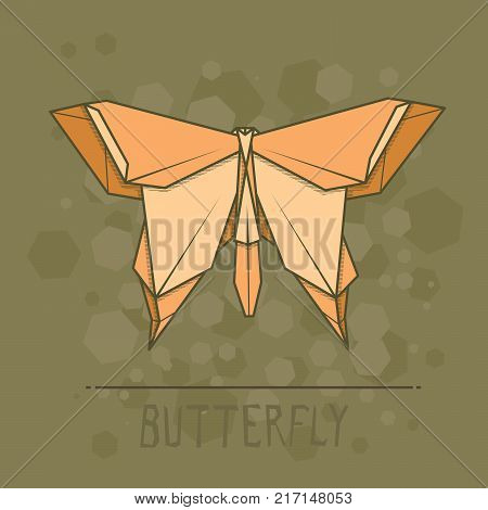 Vector simple illustration paper origami of butterfly.