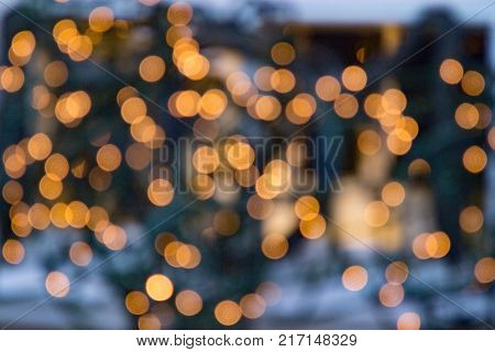 festive bokeh background with blurred fairy lights