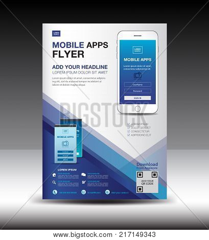 Mobile Apps Flyer Template. Business Brochure Flyer Design Layout. Smartphone Icons Mockup. Applicat
