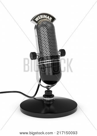 3D Render Of Microphone With Webinar Text