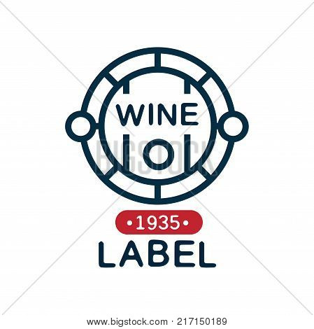 Wine label, natural top quality product vintage logo, design element for menu, winery logo package, winery branding and identity vector Illustration isolated on a white background