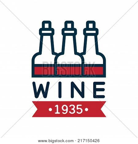 Red and blue wine label estd 1935, natural top quality product vintage logo, design element for menu, winery logo package, winery branding and identity vector Illustration isolated on a white background